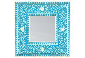 Eline Bone-Inlay Wall Mirror, Blue