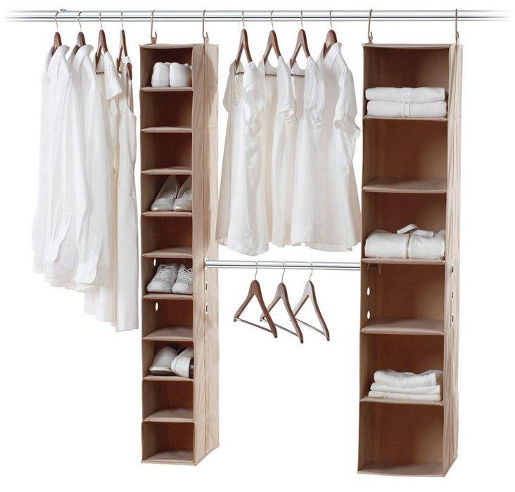 10-Shelf & Hanging Bar Closet Organizer