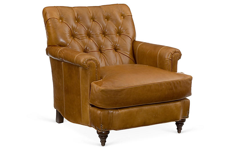 Acton Tufted Club Chair, Caramel Leather