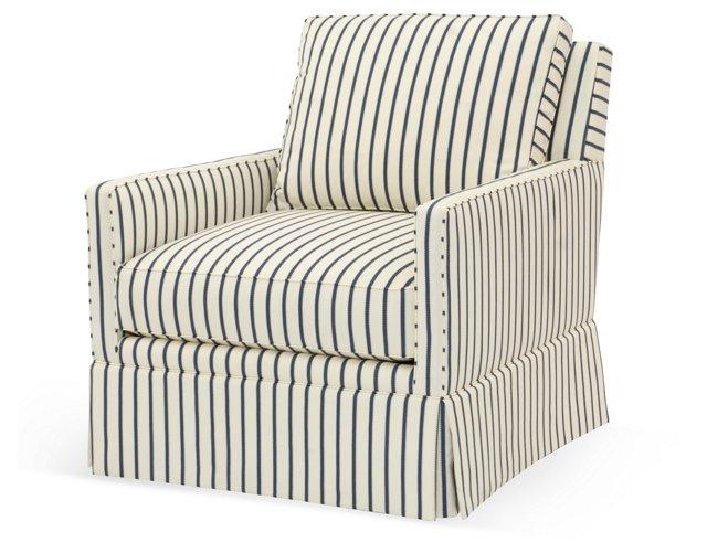 Avon Swivel Chair, Cream/Blue Stripe