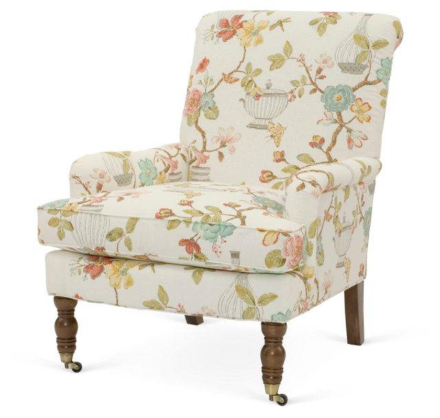 Abigail Roll-Arm Chair, Cream Floral