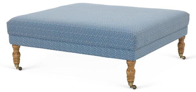 Isla Square Cotton Ottoman, Marine Blue