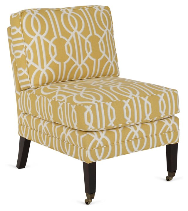 Milly Slipper Chair, Yellow/White