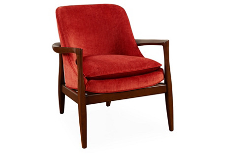 Emerywood Velvet Chair, Spice