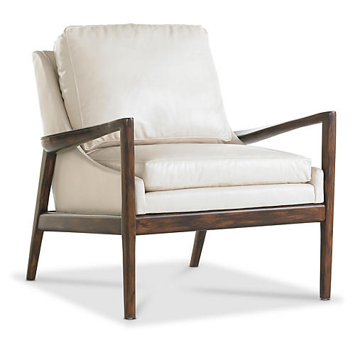Ebonwood Accent Chair, Ivory Leather