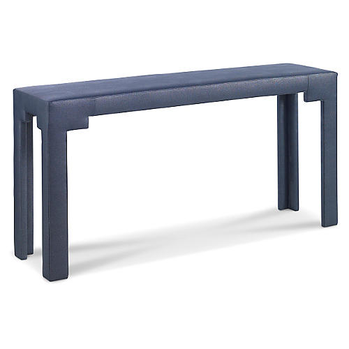 "Notched 60"" Console, Blue Shagreen"