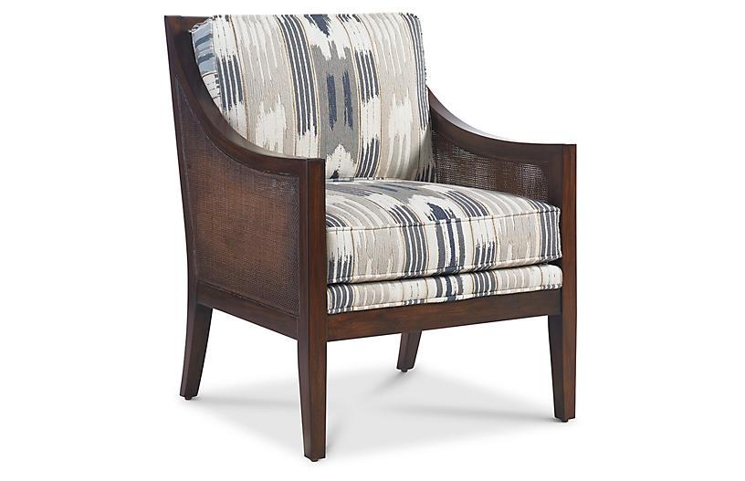 Windwood Chair - Smoke/Slate Ikat - Miles Talbott