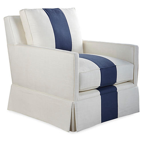 Auburn Skirted Club Chair, White/Indigo