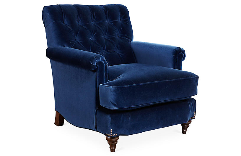 Acton Club Chair, Indigo Velvet