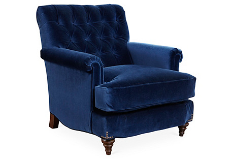 Acton Tufted Club Chair, Indigo Velvet