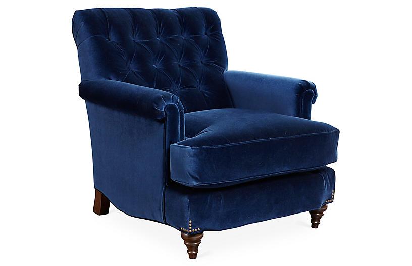 Acton Club Chair, Indigo Velvet