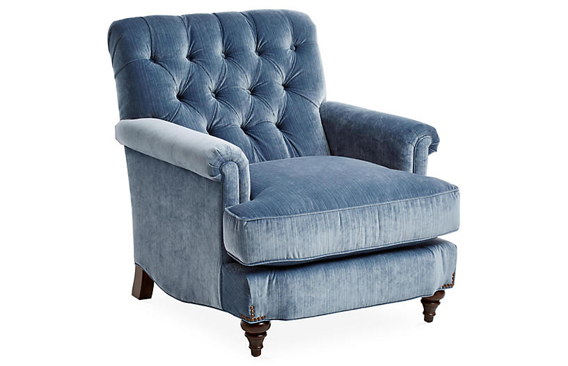 Acton Club Chair, Strie Blue Velvet