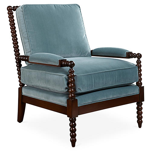 Bankwood Spindle Chair, Teal Velvet