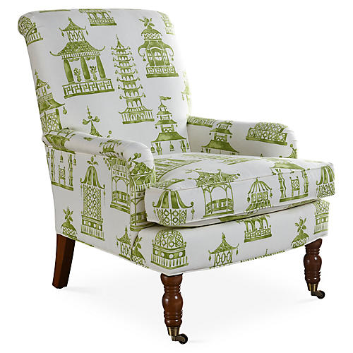 Abigail Accent Chair, Green Pagoda