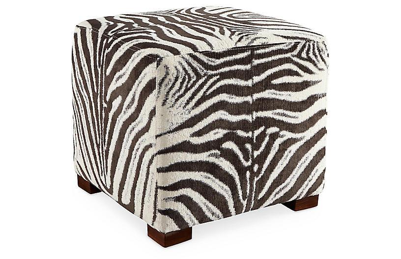 Canto Ottoman - Cocoa Zebra Stripe - Miles Talbott