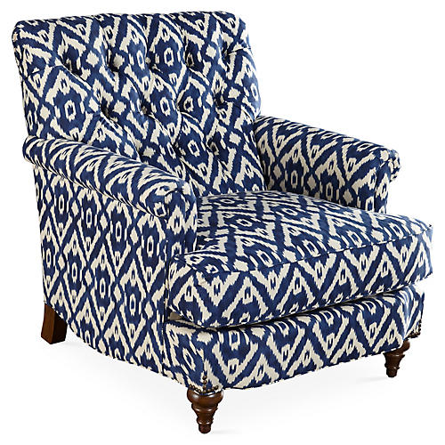 Acton Tufted Club Chair, Indigo Ikat
