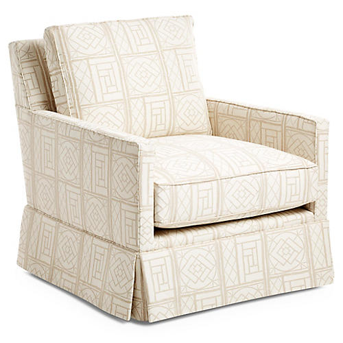 Auburn Skirted Swivel Chair, Oat Lattice