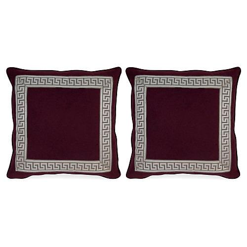 S/2 Remix Canne 20x20 Pillows, Purple