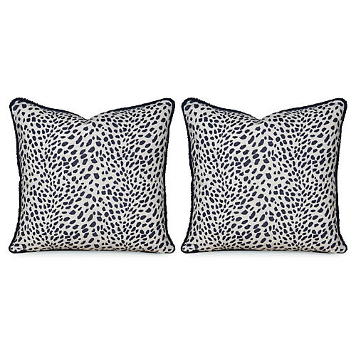 S/2 Leopard Path 20x20 Pillows, Navy