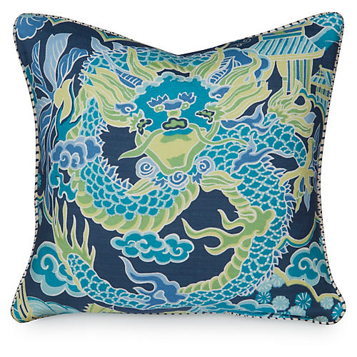 Dragon 19.5x19.5 Pillow, Navy