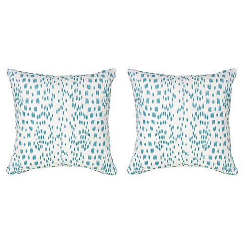 S/2 Spots 19.5x19.5 Pillows, Aqua