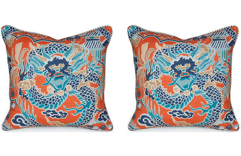 Set of 2 Imperial Dragon 19.5x19.5 Pillows - Miles Talbott
