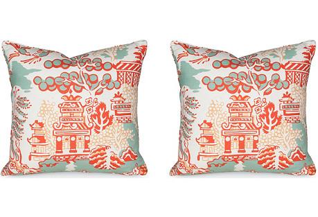 S/2 Luzon 19.5x19.5 Pillows, Aqua