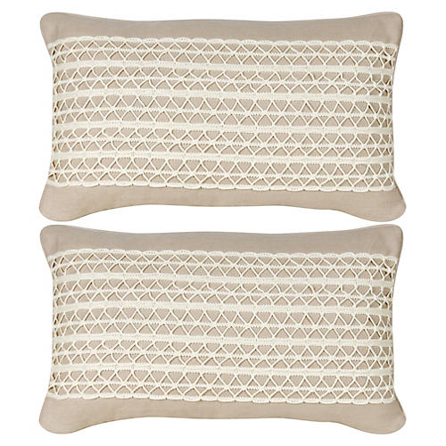 S/2 Glynn 12x20 Pillows, Beige