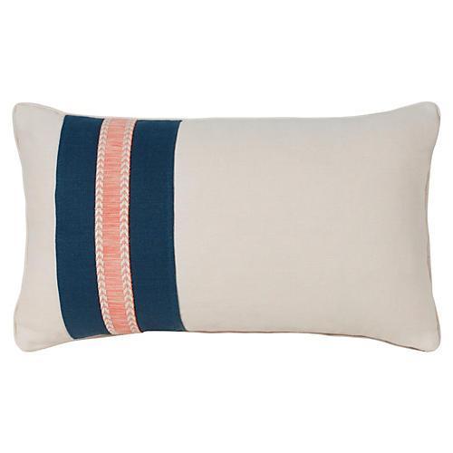 Glynn 12x20 Pillow, Ivory/Navy Linen