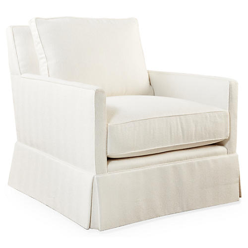 Auburn Swivel Club Chair, Ivory Crypton