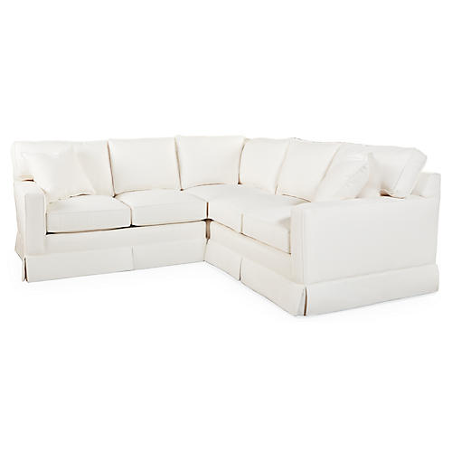 Millburn Sectional, Ivory Crypton