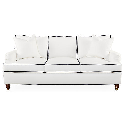 "Kate 82"" Welt Sofa, White/Navy"