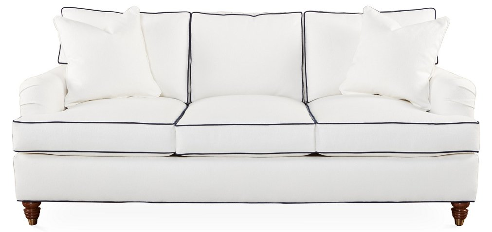 Kate Sofa White Navy Crypton Sofas Settees Living Room Furniture One Kings Lane