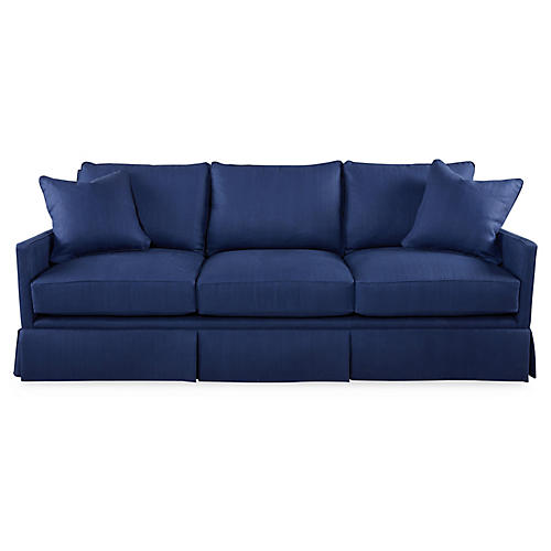 "Auburn 84"" Skirted Sofa, Navy Linen"