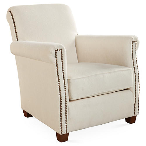 Liam Club Chair, Pearl White