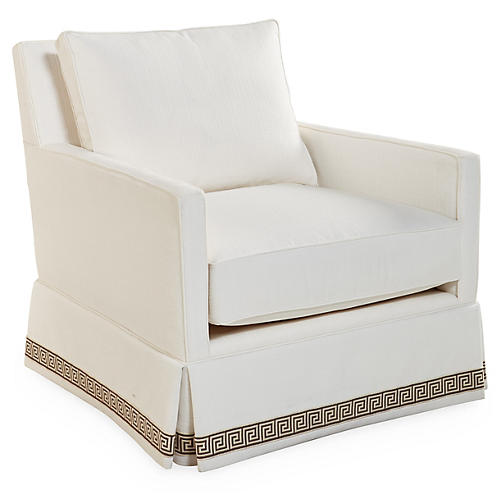 Auburn Swivel Club Chair, White Crypton
