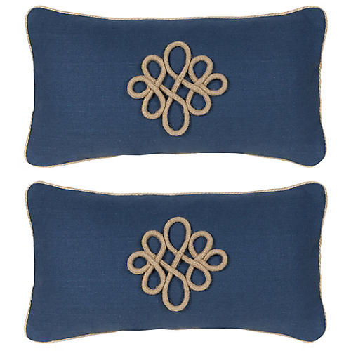 S/2 Glynn 12x23 Pillows, Indigo