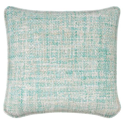 Chenille Spring 19.5x19.5 Pillow, Aqua