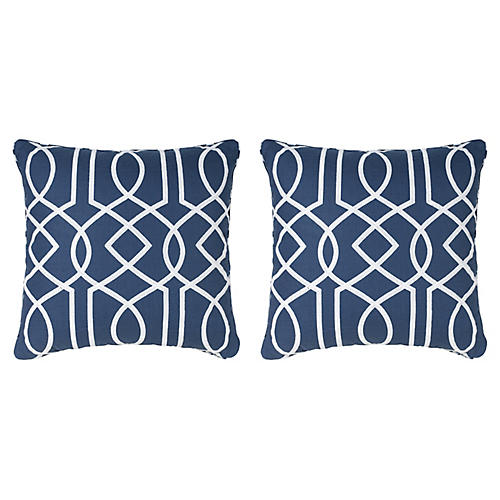S/2 Balantine 19.5x19.5 Pillows, Indigo