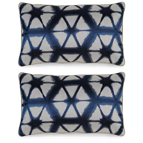 S/2 Entangle 12x20 Pillows, Indigo