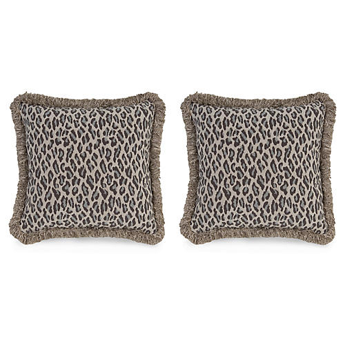 S/2 Amur Leopard 19.5x19.5 Pillows, Gray