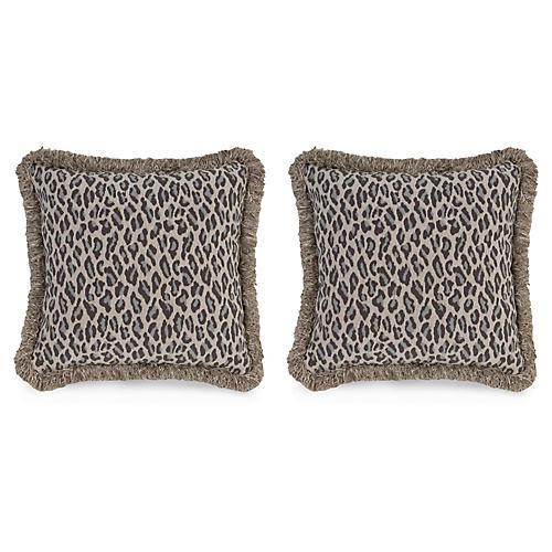 S/2 Amur Leopard 19.5x19.5 Pillows, Gray