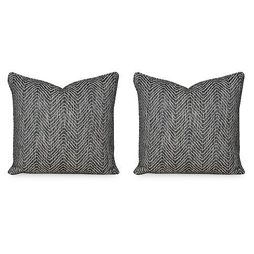 S/2 D. Woven 19.5x19.5 Pillows, Caviar