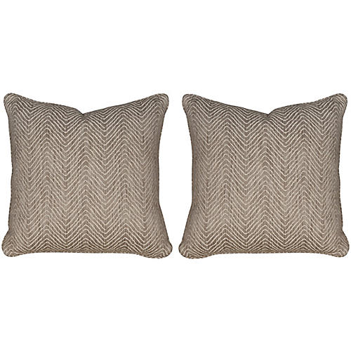S/2 D. Woven 19.5x19.5 Pillows, Linen