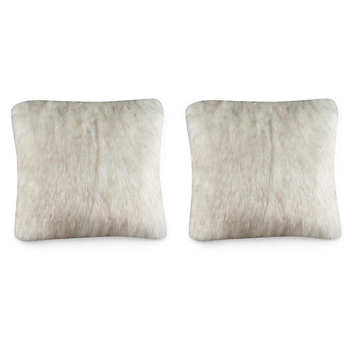 S/2 Fox 19.5x19.5 Pillows, White