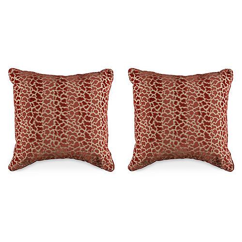 S/2 T. Velvet 19.5x19.5 Pillows, Orange