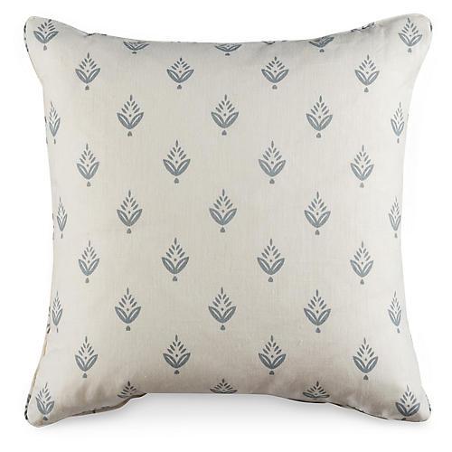 P. Pine 19.5x19.5 Pillow, White/Gray