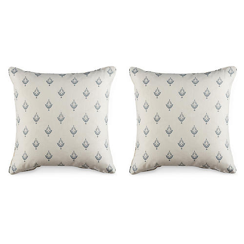 S/2 Ponderosa Pillows, White/Gray