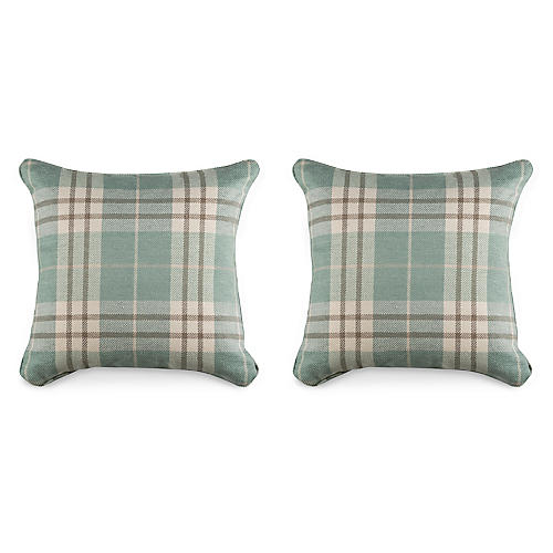 S/2 P. Plaid 19.5x19.5 Pillows, Spa