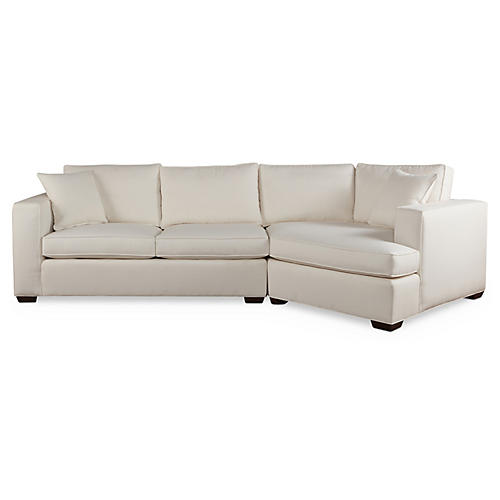 Joplin Sectional, White Crypton